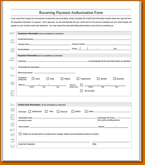 Credit Card Payment Agreement Template 11 Recurring Credit Card Authorization Form Lease Template