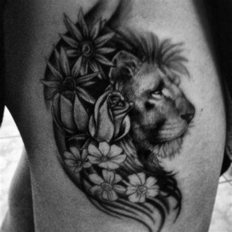 lion flower tattoo with flowers tats lions