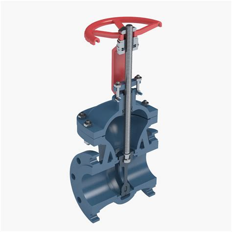 3d cross section 3d model gate valve cross section