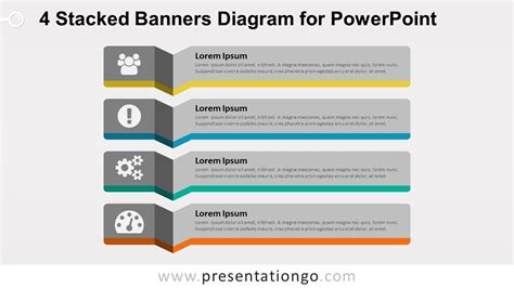 stacked diagrams for powerpoint 4 stacked banners for powerpoint presentationgo