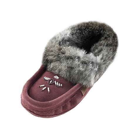 rabbit skin slippers s fleece lined with real rabbit fur collar moccasin