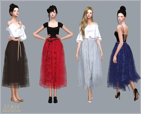Dress Ribbon 4 sims4 marigold ribbon ballerina skirt 리본 발레리나 롱 스커트