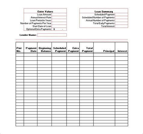loan repayment spreadsheet template amortization schedule template 7 free sle exle