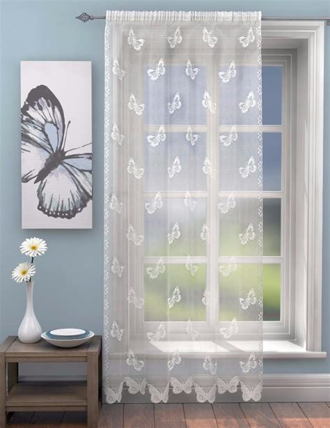 butterfly lace curtains nova lace butterfly voile curtain panel slot top header