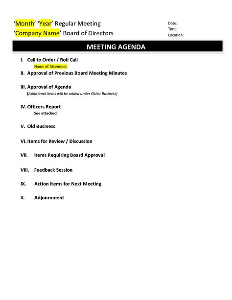 templates for board meeting agenda best photos of exle of board meeting agenda sle