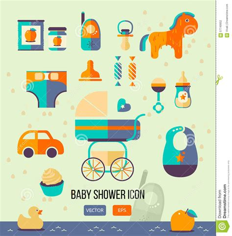 Web Baby Shower by Vector Illustration Baby Shower Icon For Invitation