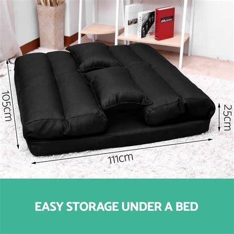 lounge sofa bed floor recliner chair folding adjustable fabric black ebay