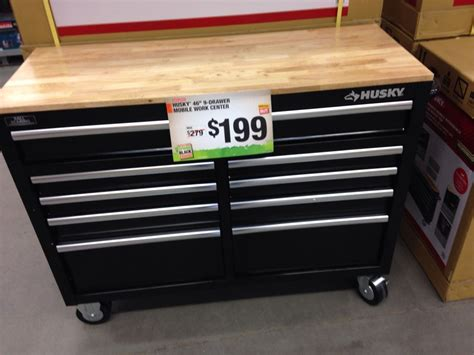 husky 46 inch 9 drawer mobile workbench with solid wood top husky rolling tool cart could be used for so many other