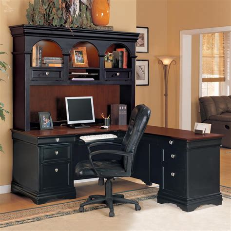 furniture mainstays l shaped desk with hutch in black wood