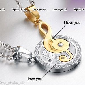 engraved gold silver couple necklaces gifts for her him