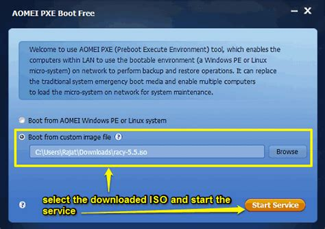 boot computers network with remote iso aomei pxe boot