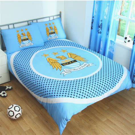 city bedding manchester city duvet cover sets crest blue football