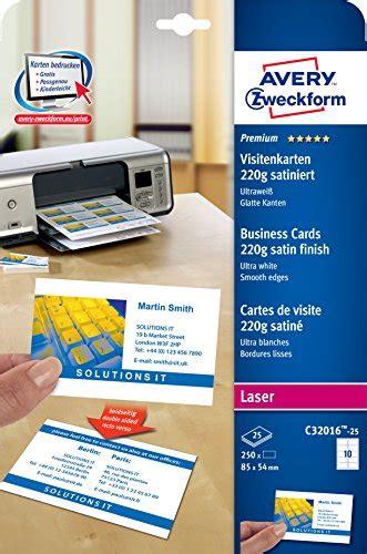 Etiketten Drucken Mit Office 2010 by Avery Zweckform C32016 25 Premium Visitenkarten 250 St 252 Ck