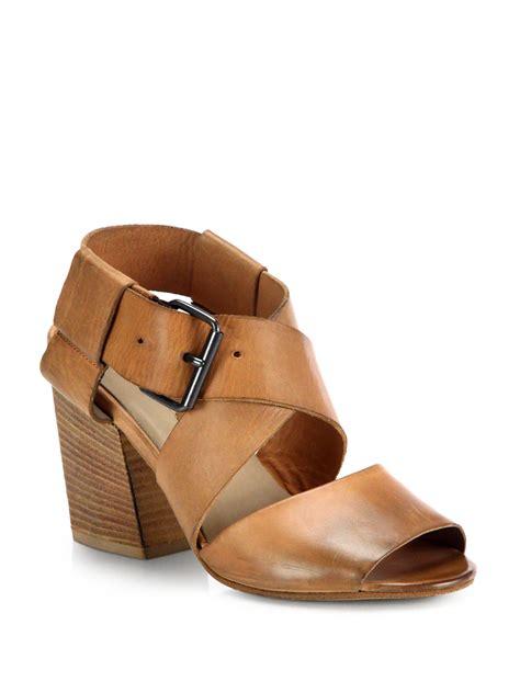 brown sandals heels mars 232 ll leather wooden heel sandals in brown lyst