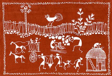 Draw House Plans Online Free village scene in warli tribal art painting by jey manokaran