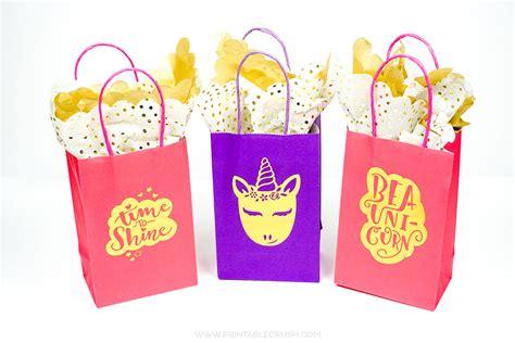 adorable gold foil diy unicorn gift bags printable crush