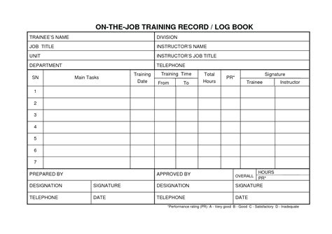 On The Job Training Template Employee Log Template Excel