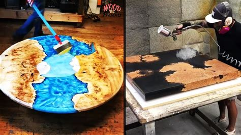 amazing epoxy resin  wood river table designs diy