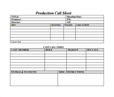 call sheet template word call sheet template 11 free documents in word pdf