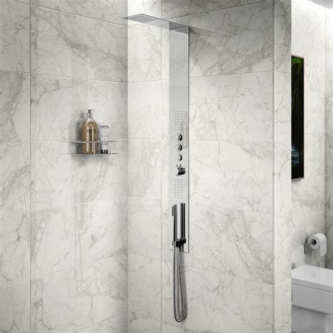 Large Format Luni Blanco Polished Porcelain Rectified Wall