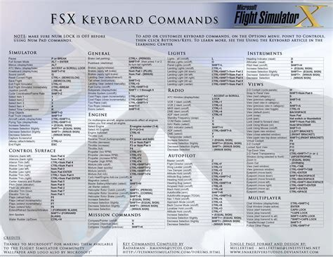 keyboard commands pdf for fsx
