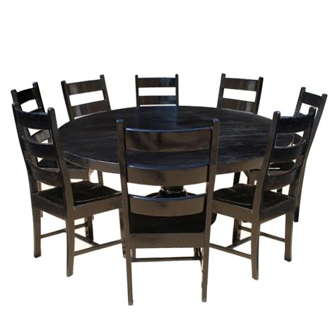 Nottingham Rustic Solid Wood Black Round Dining Room Table Set Black Dining Table Set