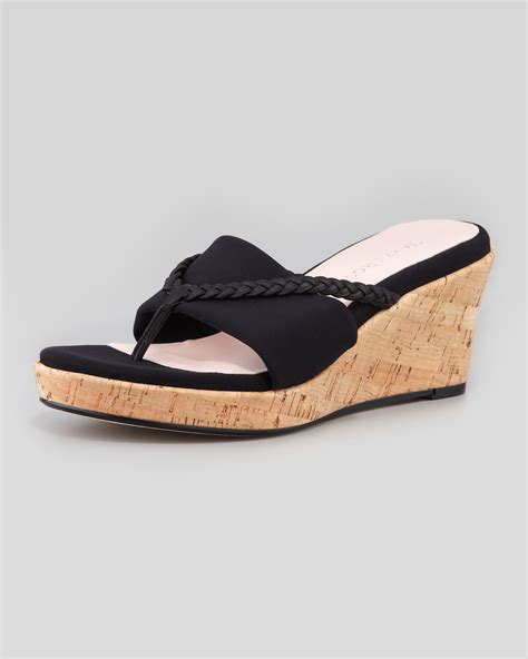 black sandal keely braided cork wedge sandal black faeaa
