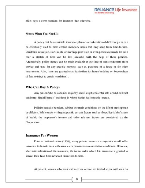 Mba Project Reliance Insurance by Project On Reliance Insurance