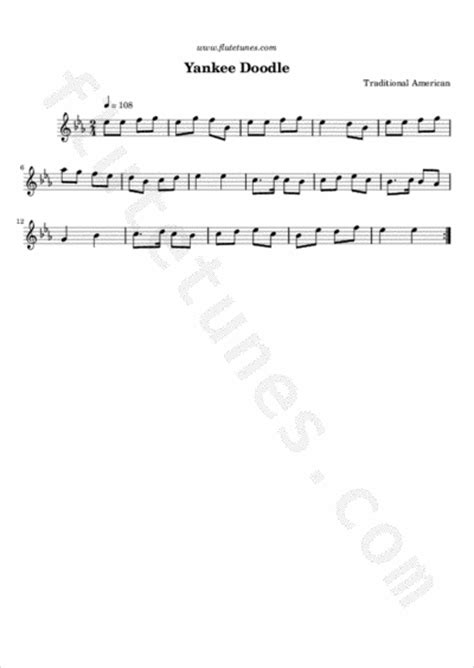 Yankee Doodle (Trad. American) - Free Flute Sheet Music