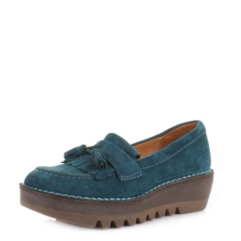 fly loafers womens fly juno petrol blue suede platform loafers