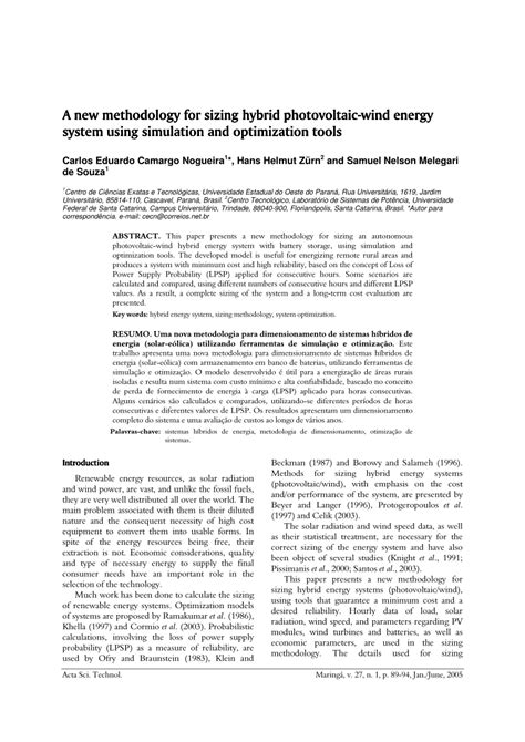 metodologia de sam pac pdf pdf uma nova metodologia para dimensionamento de sistemas h 237 bridos de energia solar e 243 lica