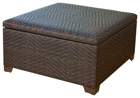 Tropical Ottoman Castiac Outdoor Wicker Storage Ottoman Tropical Outdoor Footstools And Ottomans By Great