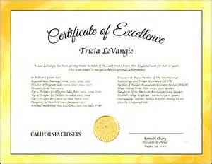 excellence certificate template certificate of excellence template sle templates