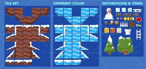 Ice Decorations Ice Platformer Game Tileset Game Art 2d
