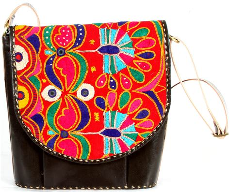 Embroidery Brown Coffee coffee brown leather handbag from ajmer with ari embroidery