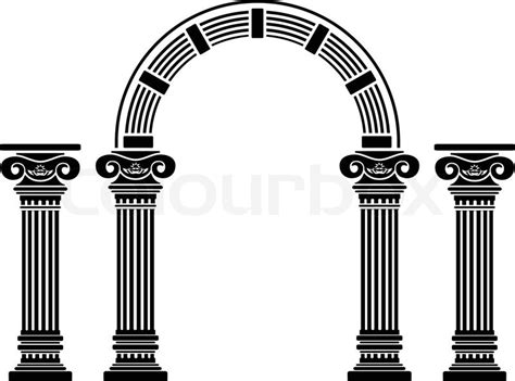 pillar the column supporting the arch for the home fantasy arch and columns stencil fifth variant vector