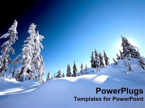 Powerpoint Template Snow Alps With White Snow Covered Snow Powerpoint Template