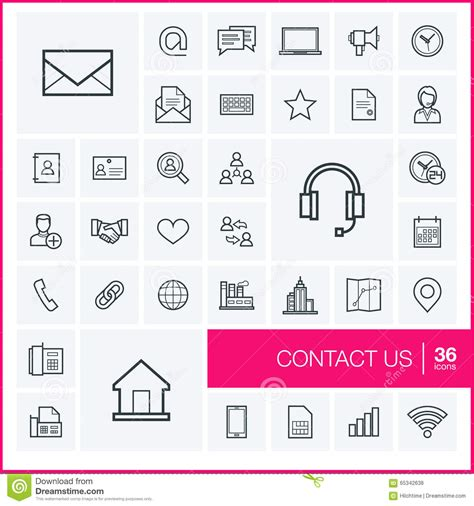 eps format support help and support set of outline vector icons cartoon