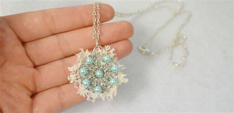 how to make metal jewelry at home diy light blue pearl flower pendant necklace with lace