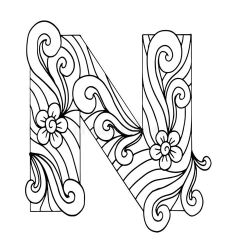 N Drawing Images by Zentangle Stylized Alphabet Letter N In Doodle Style