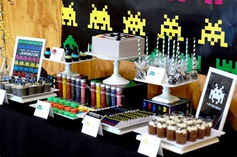 themed gamer party kara s party ideas space invaders first birthday party