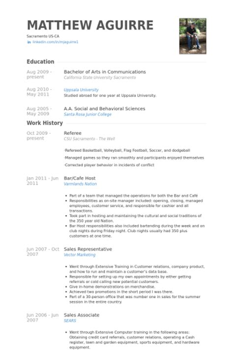 official resume template referee resume sles visualcv resume sles database