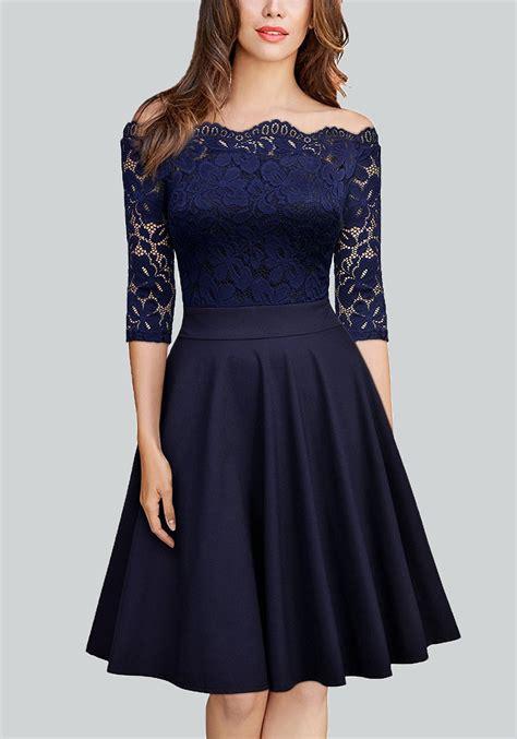 shoulder 3 4 sleeve dress navy blue pleated lace shoulder backless 3 4 sleeve