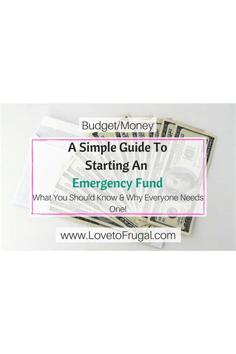 a simple guide to starting an emergency fund to frugal