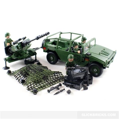 military jeep with gun army jeep and anti aircraft gun slick bricks