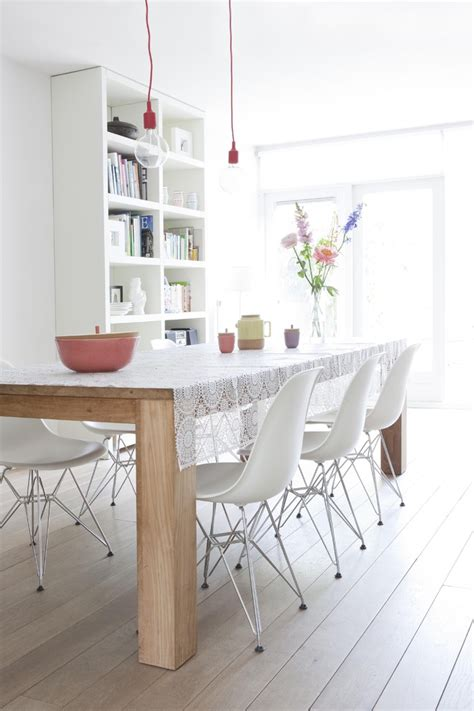 Modern White Dining Room White Washed Oak Flooring Dining Room Modern With Bare Bulb Pendant Wood