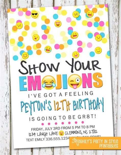 Emoji Inspired Invitation By Meghilys On Etsy Emoji Invite Emoji Emoticon Emoji Birthday Emoji Birthday Card Template