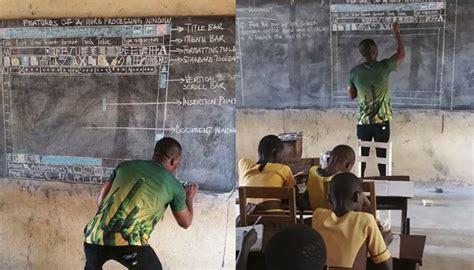 microsoft sends african teacher computer  photo