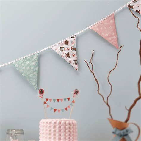 Patchwork Bunting - patchwork owl fabric bunting by