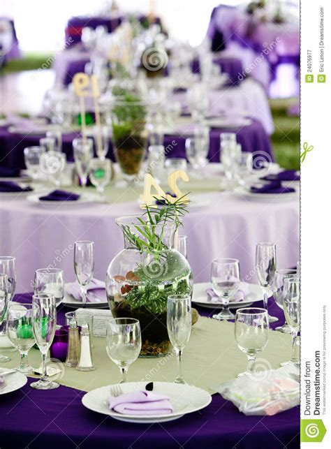 Extended Dining Table wedding tables in green and purple royalty free stock